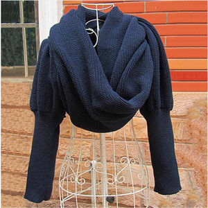 Warm knit scarf shawl sweater with sleeves in blue